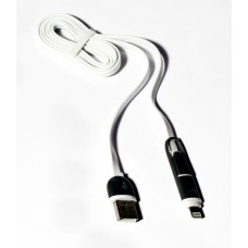 Кабель 2в1 USB-Lightning/microUSB (KS-285 Black/White) 1м