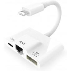 Купить адаптер 3 в 1 Lightning USB OTG, Ethernet, зарядка KS-is (KS-442)